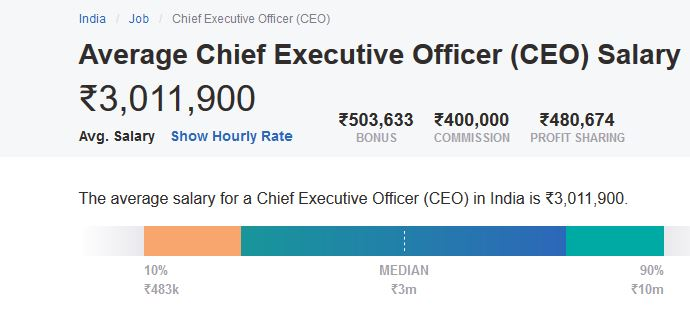 Chief Executive Officer (CEO) Average Salary Range in India
